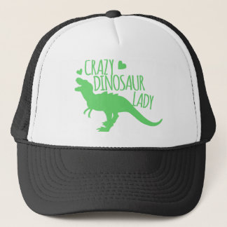 crazy dinosaur lady tyrannosaur in green trucker hat