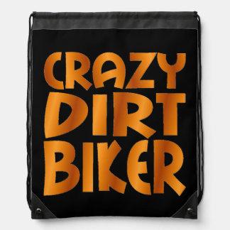 Crazy Dirt Biker in Burn Out Orange Drawstring Backpack