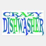 Crazy Dishwasher Rectangular Sticker