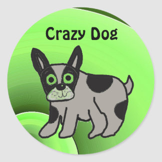 Crazy Dog Classic Round Sticker