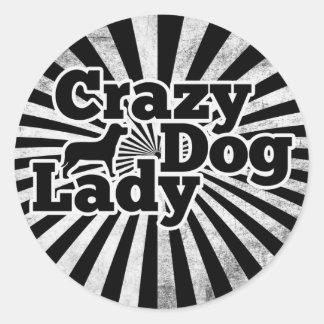 Crazy Dog Lady Classic Round Sticker