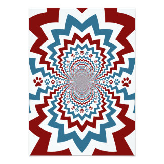 Crazy Dog Lover Paw Prints Red Blue Pattern Card