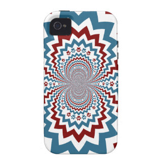 Crazy Dog Lover Paw Prints Red Blue Pattern Case-Mate iPhone 4 Case