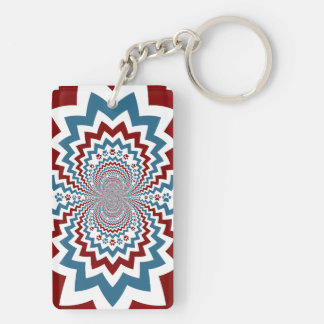 Crazy Dog Lover Paw Prints Red Blue Pattern Keychain