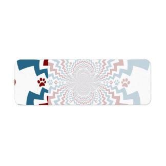 Crazy Dog Lover Paw Prints Red Blue Pattern Label