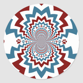 Crazy Dog Lover Paw Prints Red Blue Pattern Stickers