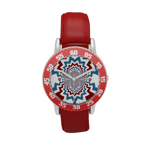 Crazy Dog Lover Paw Prints Red Blue Pattern Watches