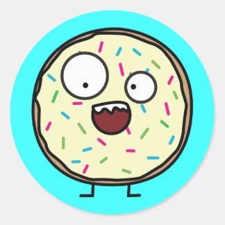 Crazy Donut with sprinkles Classic Round Sticker