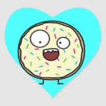 Crazy Donut with sprinkles Heart Sticker