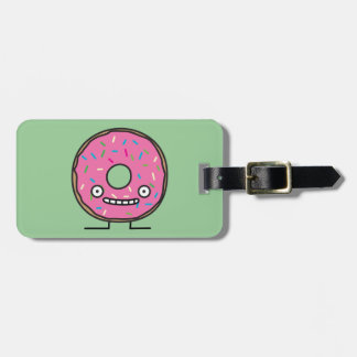 Crazy Donut with Sprinkles pink icing sweet desser Luggage Tag