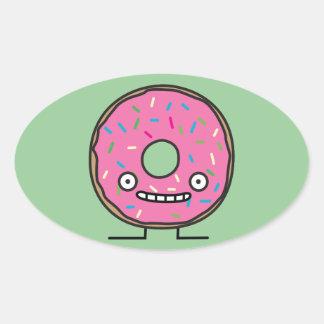 Crazy Donut with Sprinkles pink icing sweet desser Oval Sticker