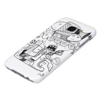 Crazy doodle black sketch samsung galaxy s6 case