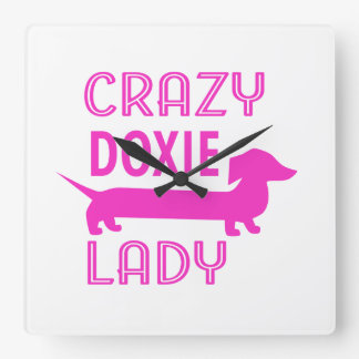 Crazy Doxie Lady Funny Dachshund Mama Square Wall Clock
