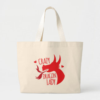 Crazy Dragon Lady Large Tote Bag