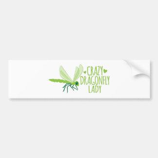 Crazy Dragonfly Lady Bumper Sticker