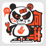 Crazy Drift Patrol - Aggressive Panda (red) Square Sticker