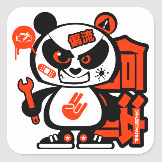 Crazy Drift Patrol - Aggressive Panda (red) Stickers
