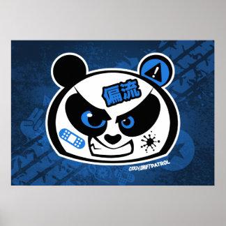 Crazy Drift Patrol - Drift Panda Head (blue) Poster