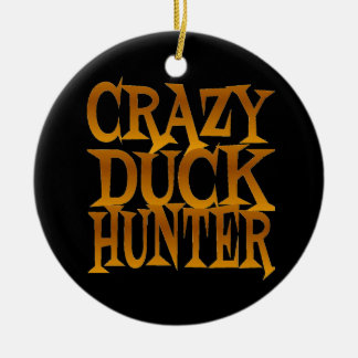 Crazy Duck Hunter in Gold Ceramic Ornament