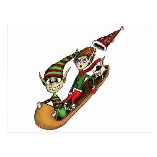 Crazy Elf Sled Ride Postcard