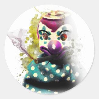 Crazy Evil Clown Toy Classic Round Sticker