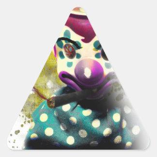 Crazy Evil Clown Toy Triangle Sticker