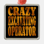 Crazy Excavating Operator in Gold Christmas Tree Ornament