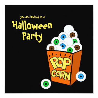 "Crazy Eyeballs Halloween Party Invitation 5.25"" Square Invitation Card"