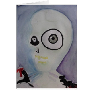 Crazy Eyed Alien Watercolor Card