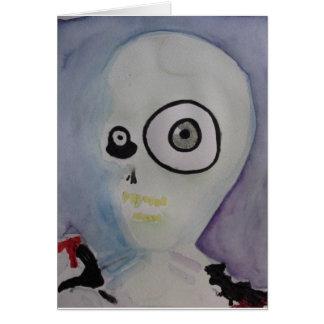 Crazy Eyed Alien Watercolor Card