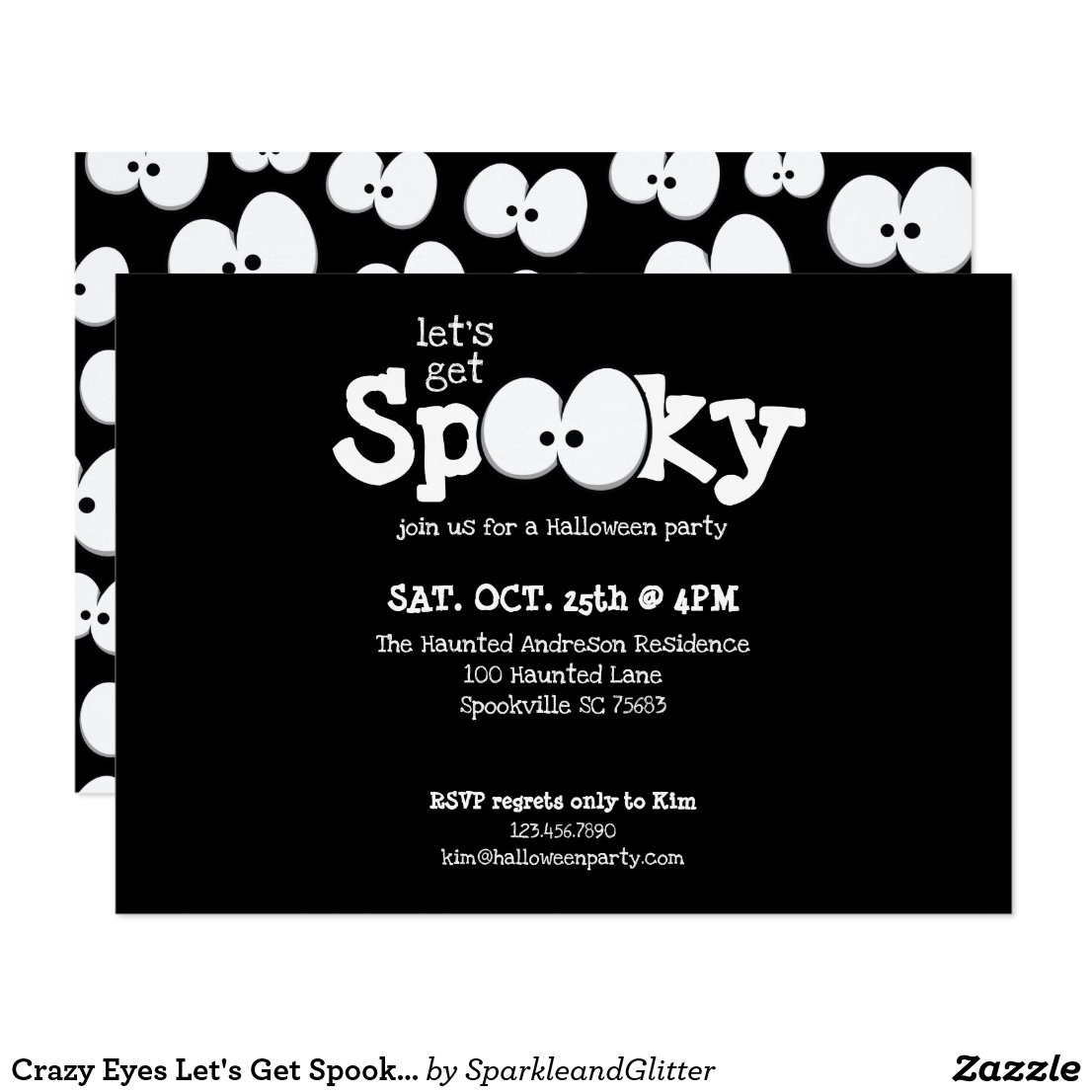 Crazy Eyes Let's Get Spooky Halloween Party Invitation