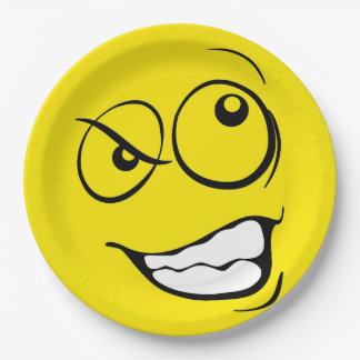 Crazy Eyes Smiley Face Funny Emoticon Party Paper Plate