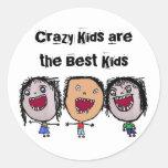 Crazy Face Cartoon Kids Classic Round Sticker