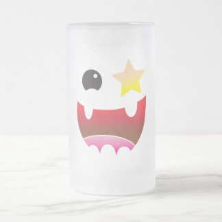 crazy face with star eye frosted glass beer mug