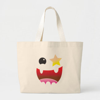 crazy face with star eye large tote bag