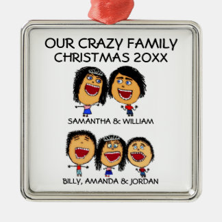 Crazy Family of Five Cartoon Ornament