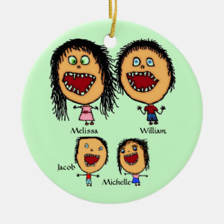 Crazy Family of Parents with Two Children Cartoon Double-Sided Ceramic Round Christmas Ornament