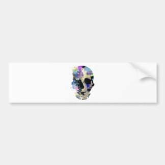 Crazy Fantasy Skull Skeleton Paint Colourful Bumper Sticker