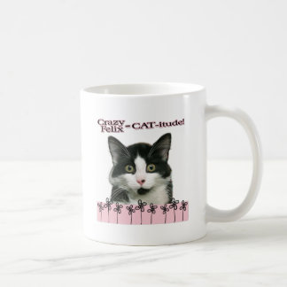 Crazy Felix CAT-itude in Pink Coffee Mug