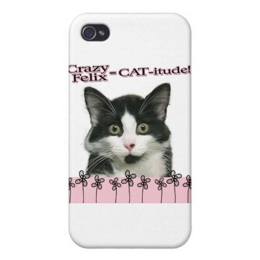 Crazy Felix CAT-itude in Pink iPhone 4 Cases