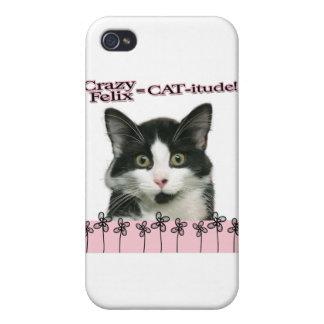 Crazy Felix CAT-itude in Pink iPhone 4 Cases