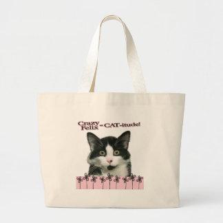 Crazy Felix CAT-itude in Pink Jumbo Tote Bag
