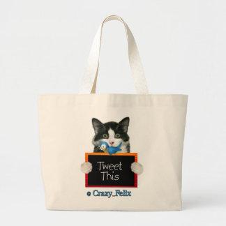 Crazy Felix Tweet This! Large Tote Bag