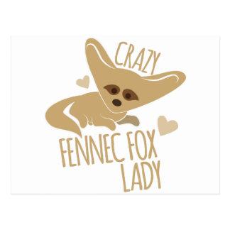 Crazy Fennec Fox Lady Postcard