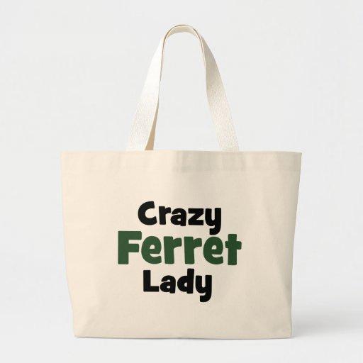 Crazy Ferret Lady Large Tote Bag