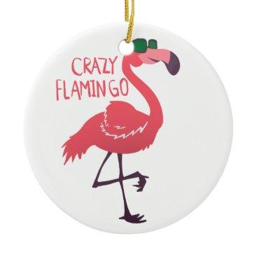 Beach Themed Crazy flamingo ceramic ornament