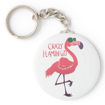 Beach Themed Crazy flamingo keychain