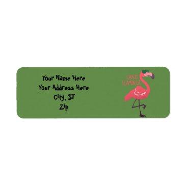 Beach Themed Crazy flamingo label