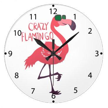Beach Themed Crazy flamingo large clock