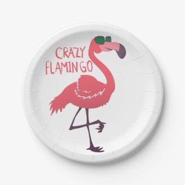 Beach Themed Crazy flamingo paper plate